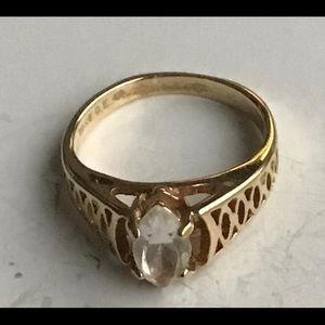 Vintage Women Ring 18KT GE Single Stone